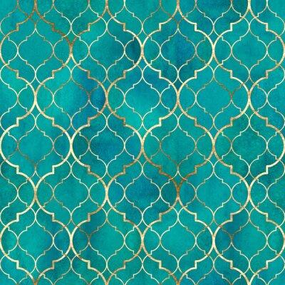 Fotomural Watercolor abstract geometric seamless pattern. Arab tiles. Kaleidoscope effect. Watercolour vintage mosaic texture