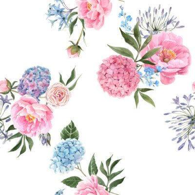 Fotomural Watercolor floral bouquet seamless vector pattern