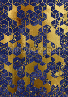Fotomural Watercolor marble background with geometric cube pattern.