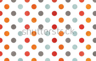 Fotomural Watercolor orange, blue, red and grey polka dot background. Texture with colorful polka dots for scrapbooks, wedding, party or baby shower invitations.