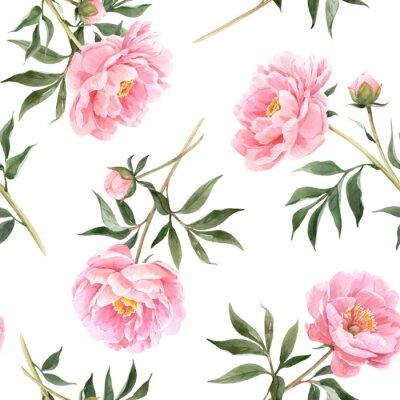 Fotomural Watercolor peony seamless vector pattern
