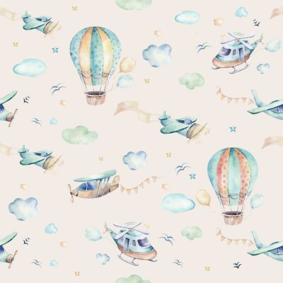 Fotomural Watercolor set background illustration of a cute cartoon and fancy sky scene complete with airplanes, helicopters, plane and balloons, clouds. Boy seamless pattern. It's a baby shower design