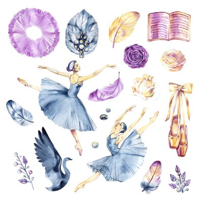 Fotomural Watercolor sketch. Ballet accessories, pointes and skirt. Print elements.