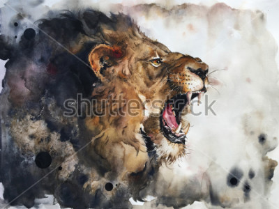 Fotomural Watercolour painting of lion