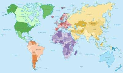 Fotomural Weltkarte - einzelne Kontinente en Farbe (Más información)