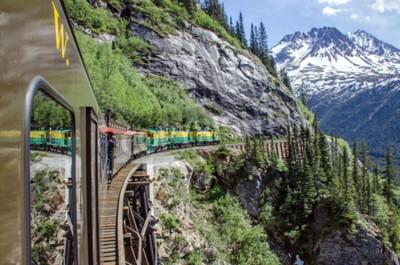 Fotomural White Pass Yukon Route Railroad viaja a lo largo de los acantilados hacia Skagway, Alaska