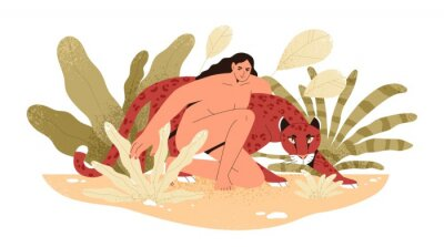 Fotomural Wilderness naked woman hug jaguar at tropical bushes vector flat illustration. Predator and human together isolated. Contemporary concept of wild female nature, environment protection.