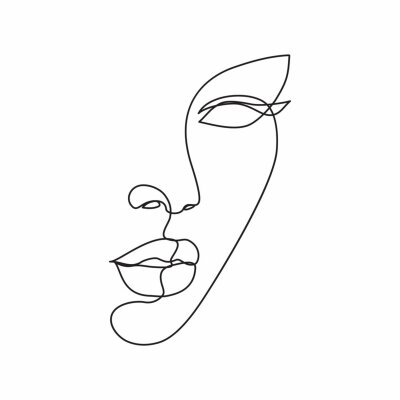 Fotomural Woman face line drawing art. Abstract minimal female face icon, logo