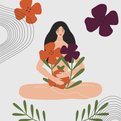 Fotomural Woman health and gynecology concept. Wild and natural female beauty. Beautiful pregnant naked asian girl holding bouquet of flowers. Idea of fertility, body positivity. Flat vector illustration