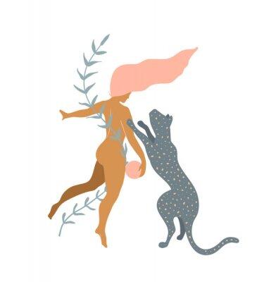 Fotomural Woman naked and Wild Cat minimal silhouette modern art print design.
