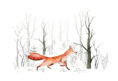 Fotomural Woodland watercolor cute animals baby fox. Nursery bunny Scandinavian forest nursery fox design. Isolated character