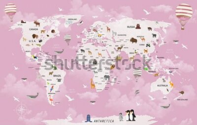 Fotomural World map animals for child room wallpaper
