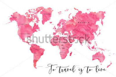 Fotomural World map filled with pink watercolour effect and country names, with plenty of space to insert your own quote under the image.