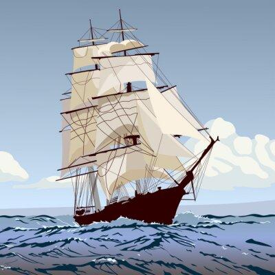 Fotomural Корабль с парусами бежит по волнам
