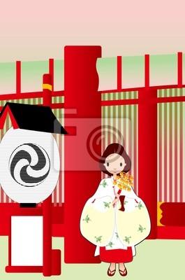 Fotomural 神社, 巫女 ilustración