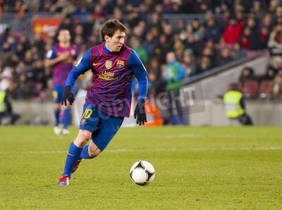 Fotomural BARCELONA - Lionel Messi, en acción durante el partido de la Copa española entre el FC Barcelona y el Valencia CF, el marcador final 2-0, en el estadio Camp Nou, Barcelona, España