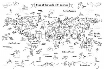 Fotomural Coloring book map of the world. Ð¡artoon globe with animals. Black and white hand drawn vector illustration. Oceans and continent: South America, Eurasia, North America, Africa, Australia