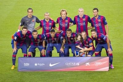 Fotomural Jugadores FCB posando para fotos en Gamper partido amistoso entre el FC Barcelona y el Club León FC, el marcador final 6-0, el 18 de agosto de 2014, en el Camp Nou, Barcelona, España