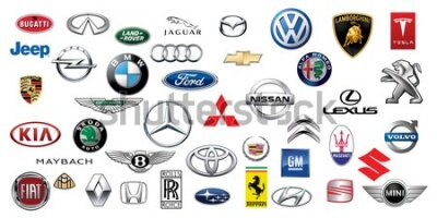 Fotomural ZAPOROZHYE, UKRAINE - DECEMBER 20, 2017: Logos collection of different brands of cars, printed on paper