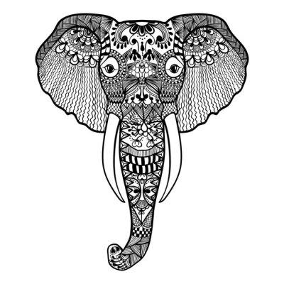Fotomural Zentangle estilizado elefante. Mano de encaje Dibujado ilustración vectorial