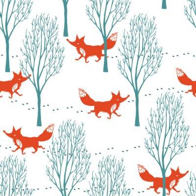 Fotomural Zorros rojos en un fondo del bosque del invierno