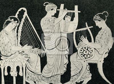 Dones gregues tocant l'arpa, la cítara i la lira.