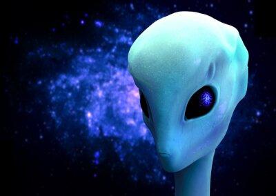 Póster 3d de un extranjero, extraterrestre visitante