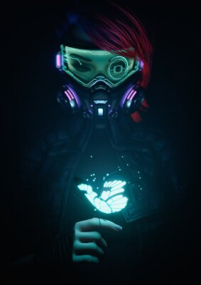 Póster 3d illustration of a cyberpunk girl in futuristic gas mask with protective green glasses and filters in jacket looking at the glowing butterfly landed on her finger in a night scene with air pollution