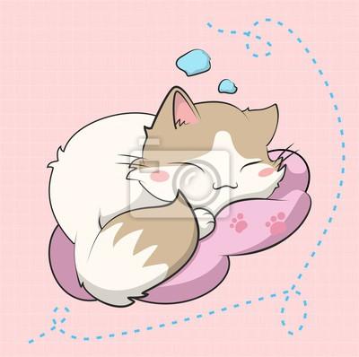 Póster A cute cat sleeping, este gatito esta inspirado en un sticker