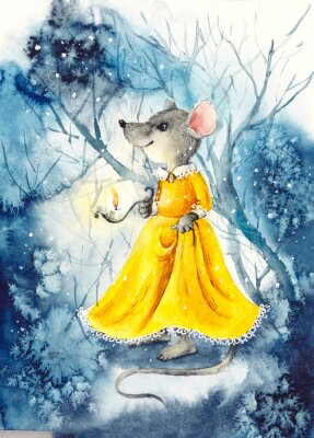 Póster A mouse with a lantern in a yellow dress. Watercolor hand drawn illustration