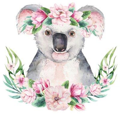 Póster A poster with a koala. Watercolor cartoon koala tropical animal illustration. Jungle exotic summer print.