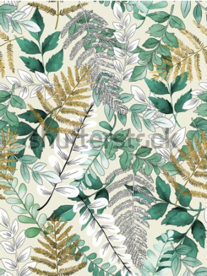 Póster A seamless representation of watercolor leaves on a yellow background