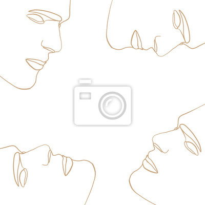Póster Abstract face one line drawing pattern on white background. Portrait in modern minimalistic style. Hand drawn vector illustration