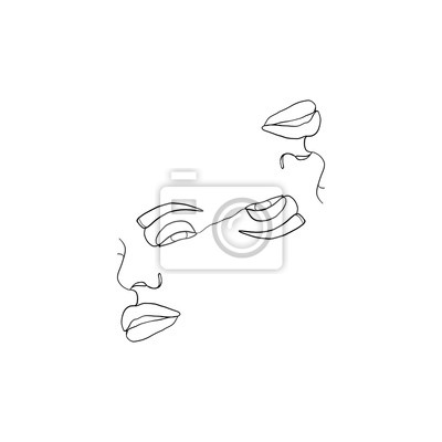 Póster Abstract faces one line drawing. Continuous line, drawing of beauty faces of two womans. Portret minimalist style. Fashion concept, beauty minimalist, one line vector illustration