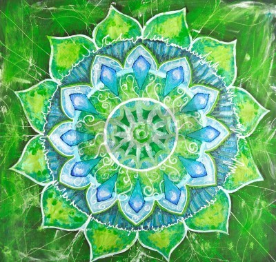 Póster abstract green painted picture with circle pattern, mandala of anahata chakra
