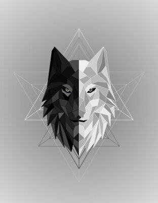 Póster Abstract polygonal wolf head design
