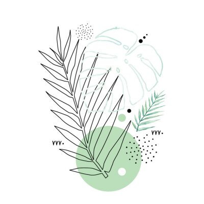 Póster Abstract poster background minimal shapes, watercolor tropical leaf. Art print with doodles, line, blue texture. Tropical illustration for minimalism, hipster, scandinavian design, t-shirt print