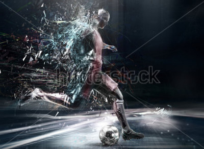 Póster abstract soccer player; 3d illustration