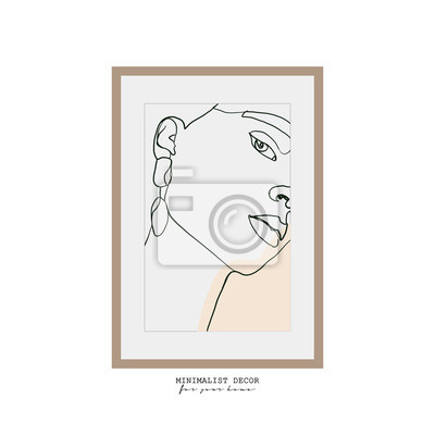 Póster Abstract woman face one line drawing. Continuous line drawing. Portrait minimalistic style. Minimalist decor. Portrait frame for a picture. fashion concept, woman beauty. One line fashion illustration