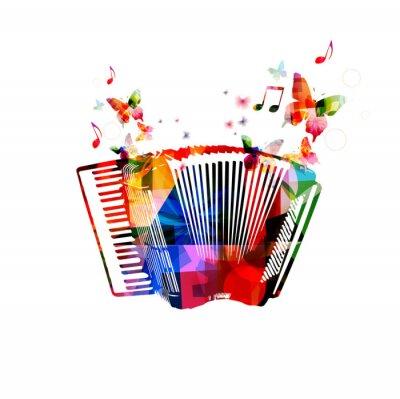 Póster Acordeón colorido. Fondo de la música de instrumentos con mariposas