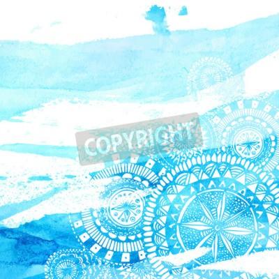 Póster Acuarela azul pinceladas con mano blanca dibujado mandalas - doodle redondo indios elementos. Vector de diseño de verano.