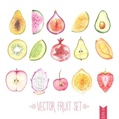 Póster Acuarela conjunto de vectores de frutas