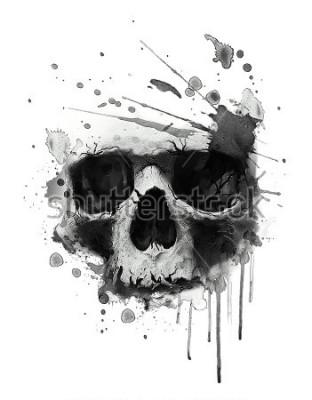 Póster Acuarela cráneo ilustración