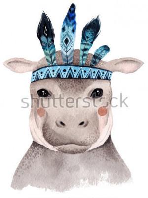 Póster Acuarela hipopótamo retrato, lindo diseño boho con plumas. Grabados infantiles con animales, carteles y postales.