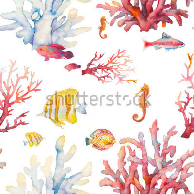 Póster Acuarela patrón transparente de arrecifes de coral. Diseño realista dibujado mano del fondo: pescados tropicales, corales, caballo de mar en el fondo blanco. Diseño de textura de repetición natural pa