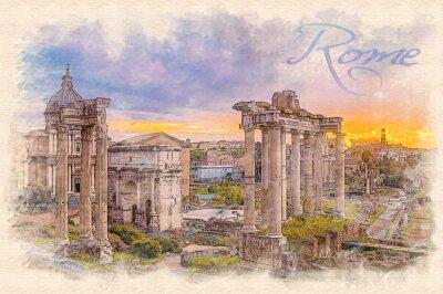 Póster Acuarela pintura efecto ilustración de un amanecer sobre el foro romano