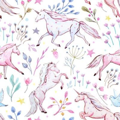 Póster Acuarela unicornio vector patrón