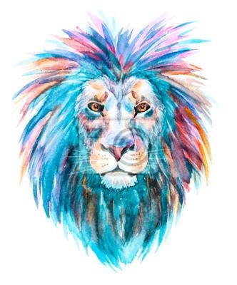 Acuarela, vector, león