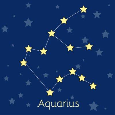 Póster Acuario Agua Zodiac constelación con estrellas en el cosmos. Imagen vectorial