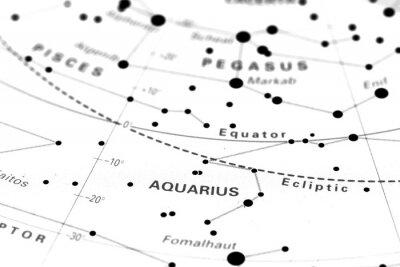 Póster Acuario mapa de las estrellas del zodiaco. Signo del acuario en un mapa de estrellas astronomía.